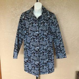 Michael Kors Navy Paisley Trench Raincoat S Jacket